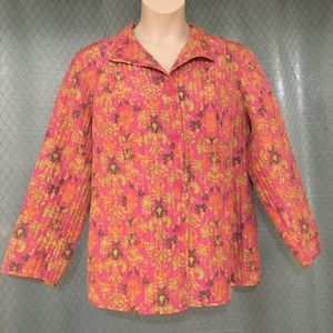 1X SIGRID OLSEN QUILTED FLORAL JACKET PINK YELLOW